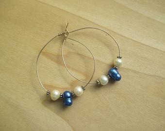 Electric Blue Pearl Hoop Earrings Sterling Silver Earrings June Birthstone June Gift