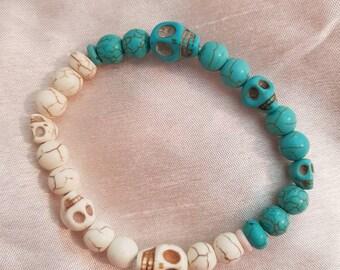 Teal and white half bracelet