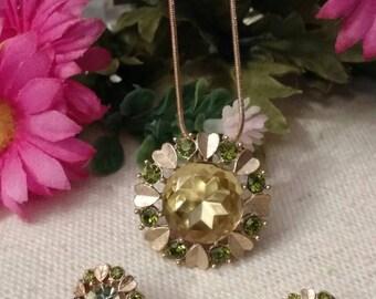 "Avon ""Sun Brilliants"", Convertible Pendant Brooch and Clip Earrings Set, Rhinestones"