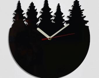Trees Round Handmade Modern Wall Clock