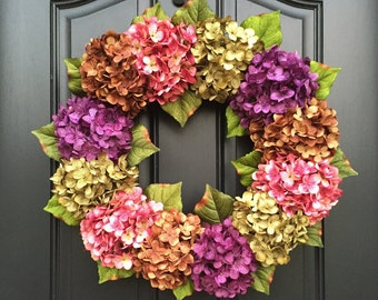 Summer Wreath, Summer Wreaths, Front Door Wreaths, Spring Hydrangea Wreath,  Outdoor Wreaths, Summer Door Wreaths, Door Wreath