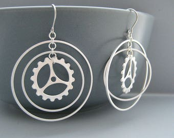 Multiple Hoops with Steampunk Gear Earrings, Silver Wheel Cyclist Jewelry - Concentric Circle
