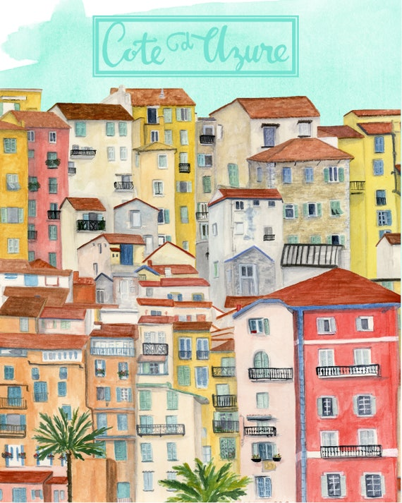 Cote d'Azure, France Travel Poster art print of an original watercolor illustration *OLD*