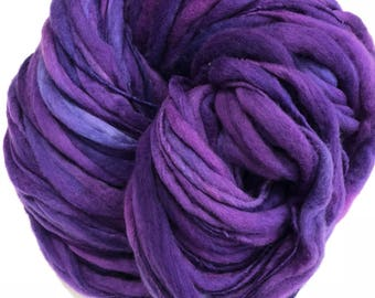 Handspun Thick n Thin art yarn. Merino wool. Hand dyed. Super soft. 7.5oz 160 yards