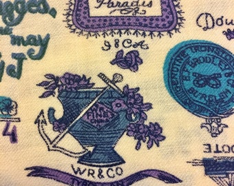Purple blue black and turquoise on cream ground antique china stamp motif vintage 1960s decorator cotton blend twill one yard