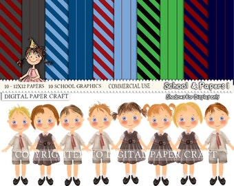 School Clipart, school Papers, student Clipart, Children Clipart