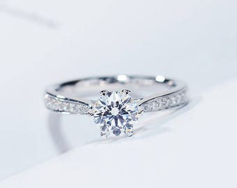1 CARAT Moissanite Engagement ring set with natural diamonds in 18k white gold, Bridal Ring,Diamond Alternative engagement ring