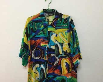 15% SALE Vintage Bon Homme Shirt/80s Bon Homme 100 Rayon Abstract Single Pocket Button Down Shirt/Colourful/Size L