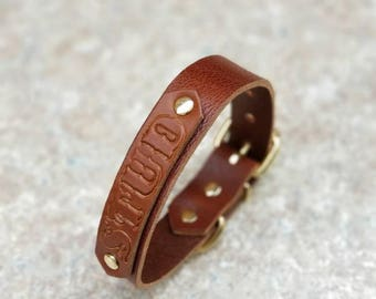 """Personalized Engraved Dog Collar - 1"""" Brown Leather Stamped Name Collar - 1"""" Stamped Leather Name Dog Collar - Custom Name Dog Collar"""