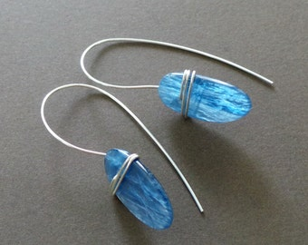 Blue Kyanite Slab Sterling Wrapped Earrings Organic Modern Primitive Jewelry - Special