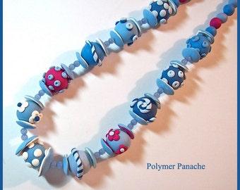 "Chunky Bead Necklace Denim Blue & Magenta Polymer Clay 18"" Handcrafted Original Design Lightweight Unique"