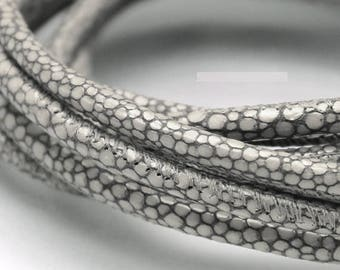 4 mm gray leather cord By the foot GALGRAY 4mm Faux stingray leather 4 mm Grey leather round cord 4 mm galuchat GALGRAY