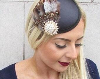 Black Cream Gold Brown Pheasant Feather Fascinator Pillbox Hair Races 40s 4791