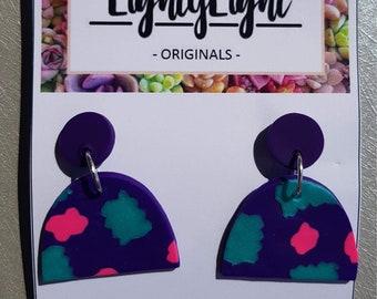Handmade Polymer Clay Circle Disco Dangle Stud Earrings