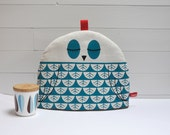 Hand Screen Printed Owl Tea Cosy in Teal