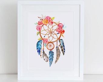 Dreamcatcher Art Print, Dreamcatcher Printable Wall Art, Instant Download,  Printable Home Decor, Digital Art Print, Tribal Art Print