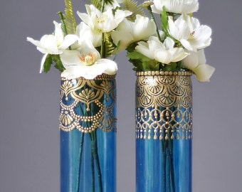 Moroccan Vases, Blueberry Tinted Glass with Gold Detailing