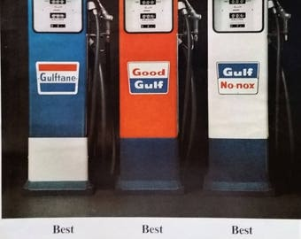 Gulf Oil Gas Tank Memoribilia Transportation 1960s Station Products Color Standout Car Guy gift Vintage Gas Pumps 13x10 Ready to Frame