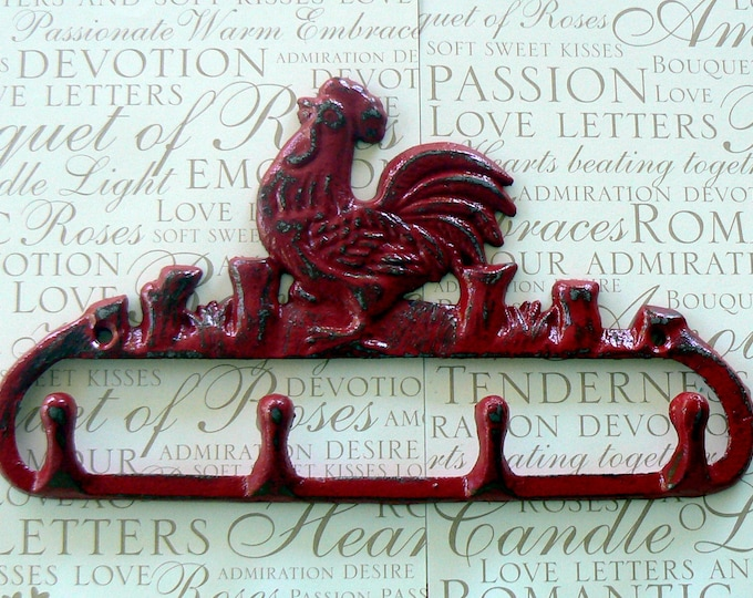 Rooster 4 Hook Red Cast Iron Shabby Chic Rustic French Country Farmhouse Wall Decor