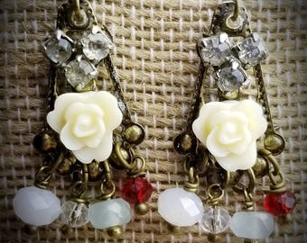 Mixed 1950  elements earrings, one-of-a-kind.