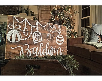Rustic Christmas Decor | Personalized Sign | Rustic Wood Sign | Christmas Gift | Wood Holiday Decor | Family Name Sign | Hostess Gift |