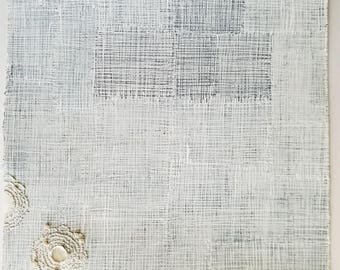 Winter White no.3 / White on White Crossing Lines / Mixed Media Drawing with Collage and Stitching