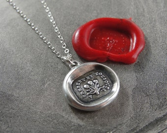 Now And Always - Wax Seal Necklace Rose Bouquet - antique wax seal charm jewelry with French motto by RQP Studio