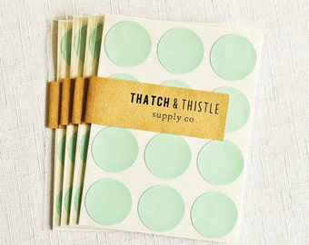 48 Mint Green Circle Stickers - 1 Inch Envelope Seals Labels Gift Wrapping Party Invitations Embellishment Pretty Packaging