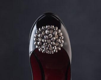 Silver Shoe Clips, Silver Flower Shoe Clips, Wedding Flower Shoe Clips, Diamond Flower Shoe Buttons, Rhinestone Shoe Clips, Beaded Rose