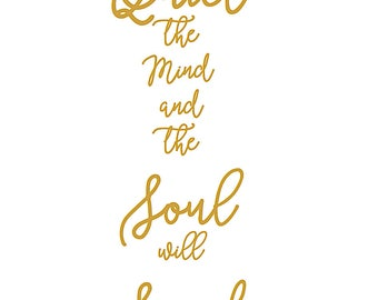 Quiet the Mind Wallart A4 Print Quote Yoga Meditation Gold Typography