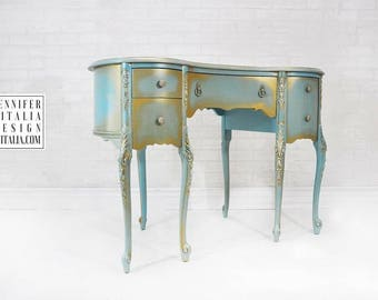 Vintage MakeUp Vanity Teal And Gold Queen Anne French Antique Custom Order  U0026 Finish   Hand Painted Make Up Vanity French Romantic