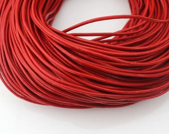 2mm Round Leather Cord, Genuine Leather Cord, Leather String, Red Leather Cord, Necklace Cord, Bracelet Cord, Jewelry Cord--PS110