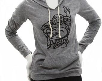 Hotei - Happy Lucky Buddha | Lightweight pullover hoodie | soft organic cotton blend