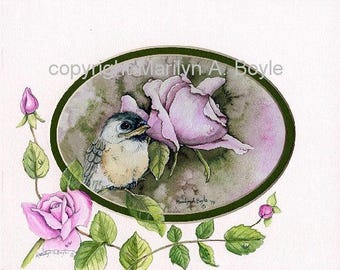 HAND PAINTED MAT; baby chickadee print, roses, wall art, one of a kind, enhanced mat, 8 x 10 inches, original print, original art