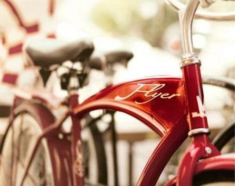 Bicycle Photography,  Red American Flyer Bike Print, Retro, Modern, Bike Wall Art