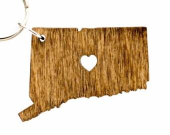 Connecticut Wooden Keychain - CT State Keychain - Wooden Connecticut Carved Key Ring - Wooden CT Charm