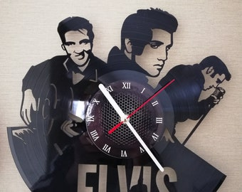 ELVIS PRESLEY MUSiC CLOCK gift for kids Rock music band gifts for boys Vinyl wall clock gifts for men