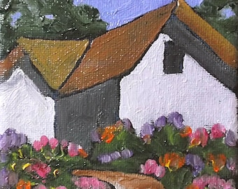 Miniature Impressionist Oil Painting 4x4 Plein Air California Farm Barn Garden Landscape Lynne French Art