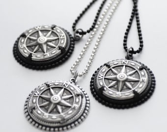 Silver Compass Necklace, Wanderlust Necklace, Unisex Steampunk Compass Necklace, Silver Necklace, Compass Jewelry, Traveler Gift, SRAJD