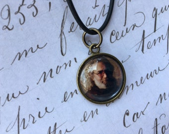 Jerry Garcia pendant / Jerry Garcia photo necklace / Jerry Garcia picture pendant / Jerry Garcia picture neckalce / Grateful Dead necklace