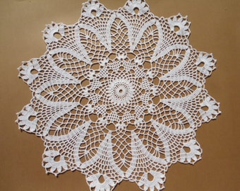 white crochet doily , lace , round , 17 inches