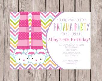 PRINTABLE- Birthday Sleep Over Invite- Slumber Party Birthday Invite- Birthday Invite- Slumber Party Invite- Sleep Over Invite- 5x7 JPG