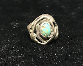Vintage Sterling Silver and Turquoise Cast Ring Size 4 3/4