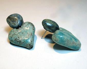 Raku Ceramic heart-shaped turquoise earrings