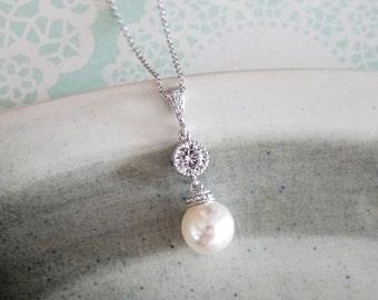 kylee - Simple Pearl Drop Necklace, Swarovski pearl, Cubic Zirconia Bridal, Bridesmaids, jewelry, fairy tale, wedding,