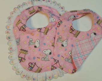 Snoopy Easter Bibs-One with Lace Detail-One Plain