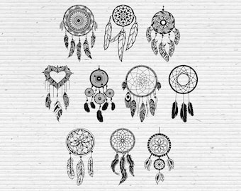 Hand-Drawn Dreamcatchers, Digital Cliparts and Vectors in jpg, png, pdf, and eps