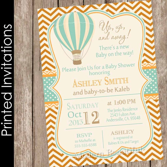 Printed vintage hot air balloon baby shower invitation up up filmwisefo Image collections