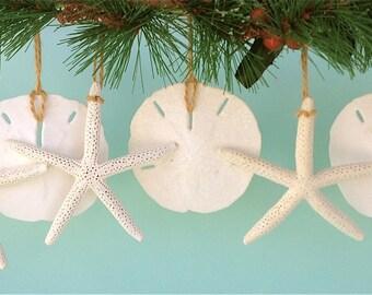 Beach Christmas Ornaments, Beach Ornaments, Coastal Ornaments, Beach Christmas Decor, Beach Decor, Natural Starfish and Sand Dollars
