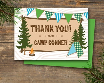 Thank You Note Cards Printable - Camp Theme